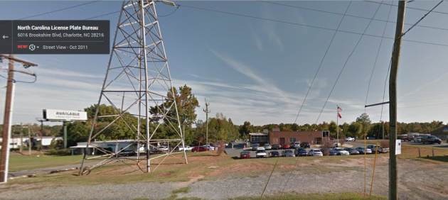 The Charlotte License Plate Authority Office. This Google Maps Streetview actually makes it look SO much more pleasant than it actually is.