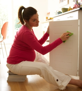 """I did a Google image search for """"Nesting Instinct"""" and this was the first image that came up. This is what I imagined my life to be right now - completely zen and happy with scrubbing my kitchen cabinet doors. NO DICE, MAN. No dice."""