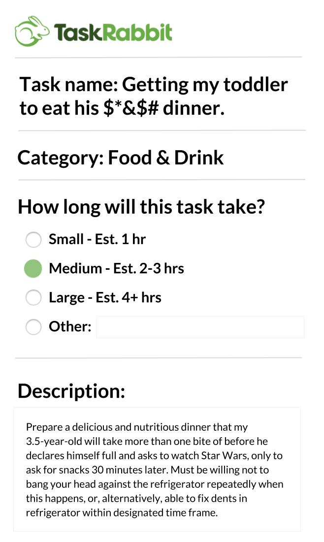 TaskRabbit_ Toddler Dinner